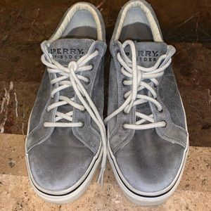Men's Size 13 gray leather Sperry Topsiders